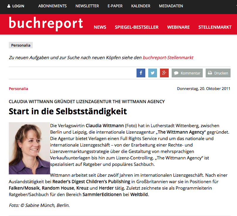 Buchreport_TheWittmannAgency